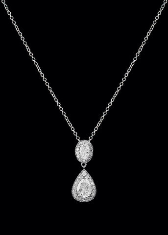 CZ pear and oval drop necklace