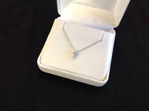 Mini Crystal Sterling Silver Cross Necklace