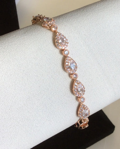 Rose Gold teardrop CZ bracelet