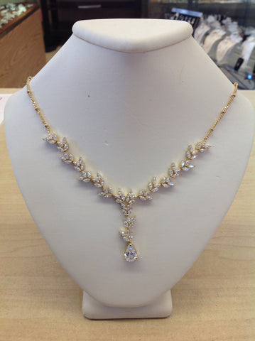 CZ and Gold Leafy Teardrop Necklace