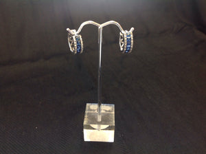 Sterling Silver Sapphire Huggie Hoop Earrings