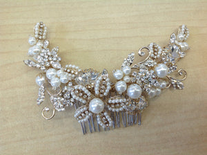 Gold Floral Hair Comb with Pearls and Crystals