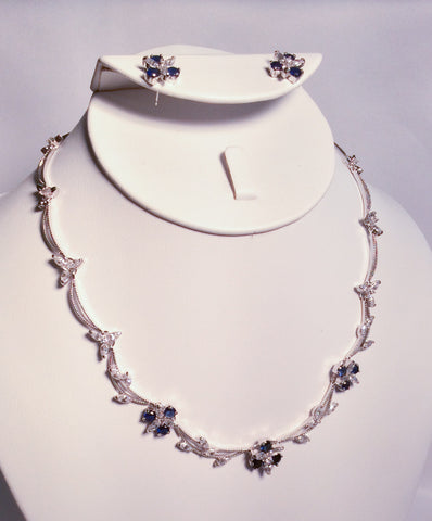 Sapphire and CZ flower necklace set