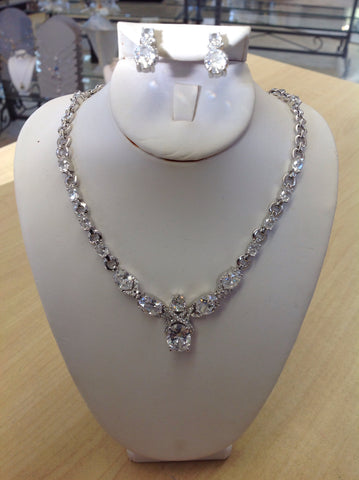 CZ Oval and Chain Necklace Set