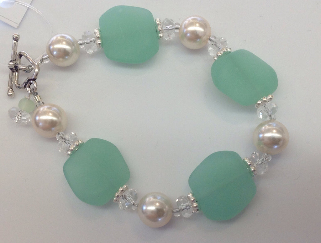 Sea glass Pearl and sterling bracelet