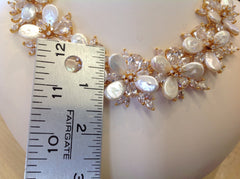 Freshwater Pearl and Swarovski Crystal Gold Necklace