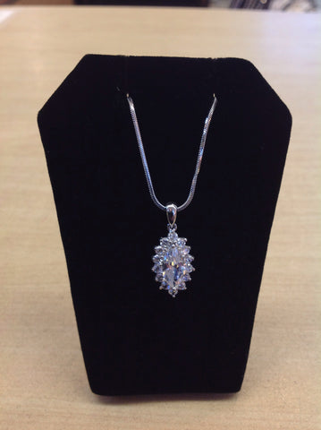 CZ Marquise Solitaire Pendant Necklace
