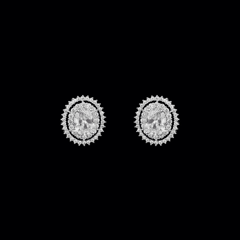 CZ Oval Clip On Earrings with Pave Halos