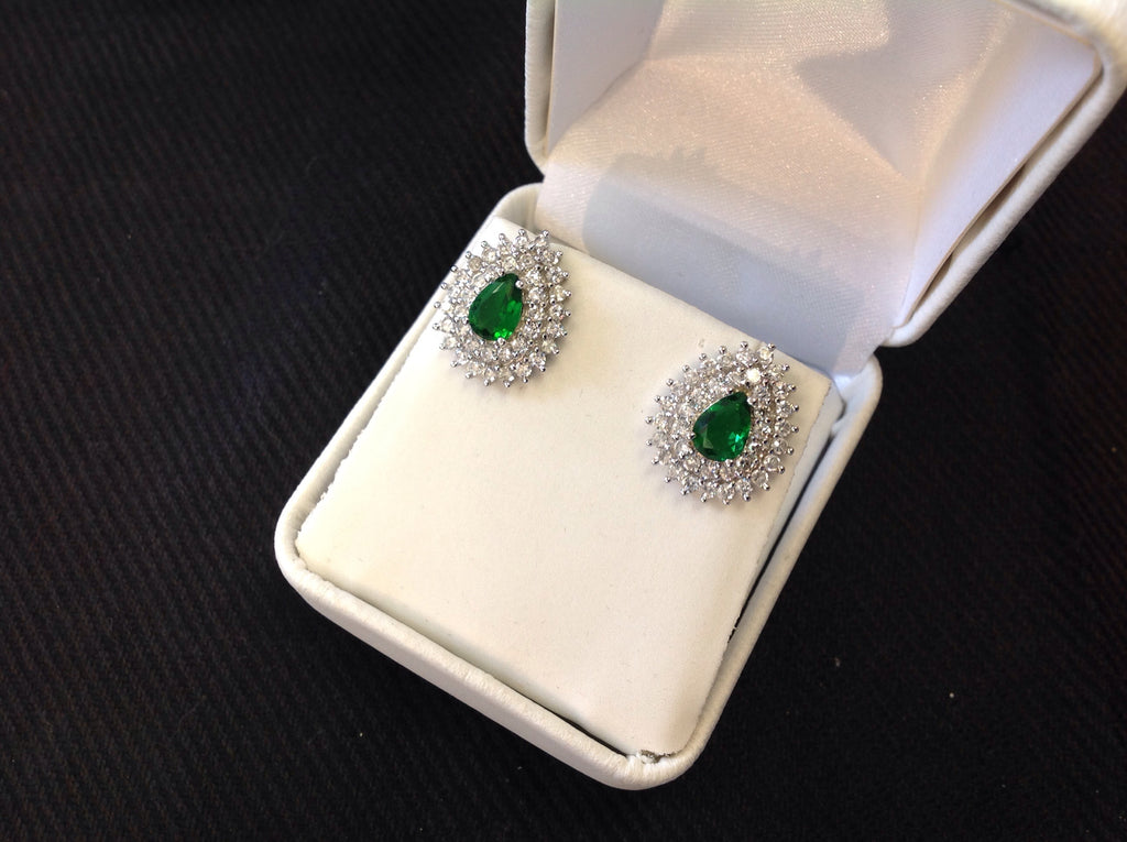 Sterling Silver Emerald CZ Teardrop Earrings