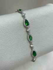 Silver and Emerald green CZ Bracelet