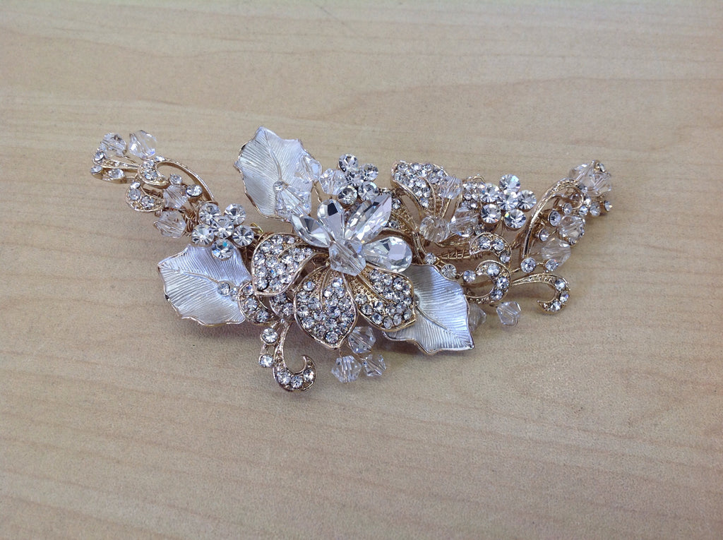 Swarovski Crystal and Rhinestone  Gold Hair Clip S-2708GD