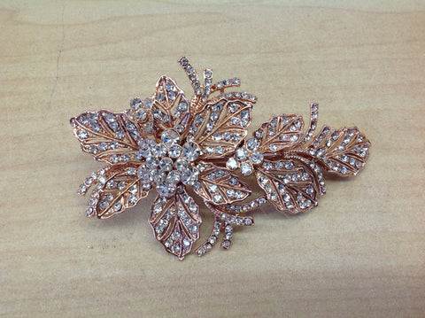 Rose Gold and Crystal Flower Hair Clip