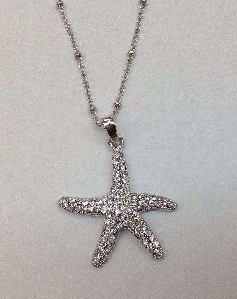 Silver Crystal Starfish Pendant necklace