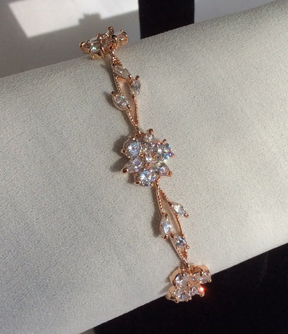 Rose Gold CZ flower bracelet