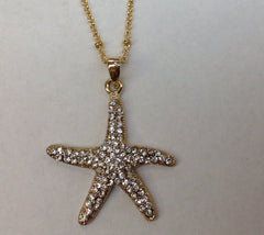 Gold Crystal Starfish Pendant necklace