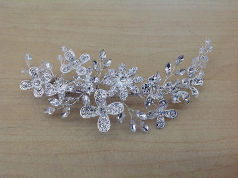 Swarovski Crystal and Rhinestone Silver Hair Clip S-2717