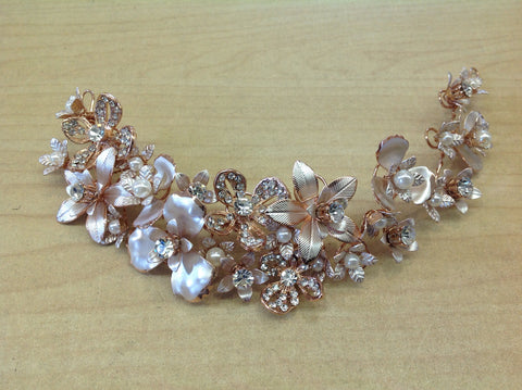 Rose Gold Flower Hair Piece
