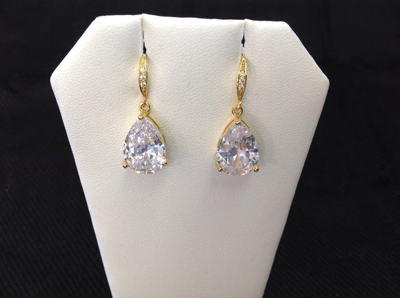 14K Gold Plated CZ Pear Drop Earrings