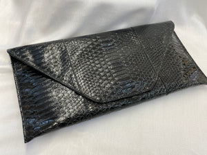 Black Faux Alligator Envelope Clutch