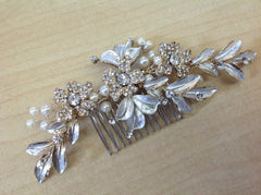 Platinum Gold Floral Hair Comb