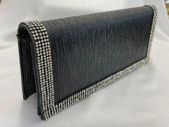 Black Clutch with Rhinestone detail