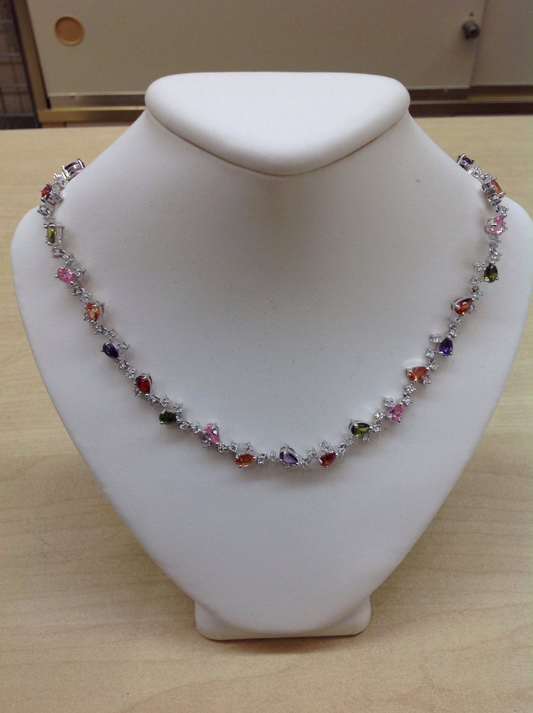 CZ Multi-color Pear Cluster Necklace