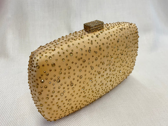 Gold Rhinestone Dot Clutch