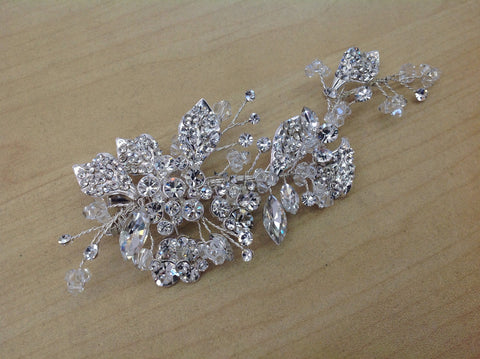 Swarovski Crystal and Rhinestone Silver Hair Clip TL-209