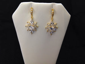 14K Gold Plated Starburst CZ Earrings