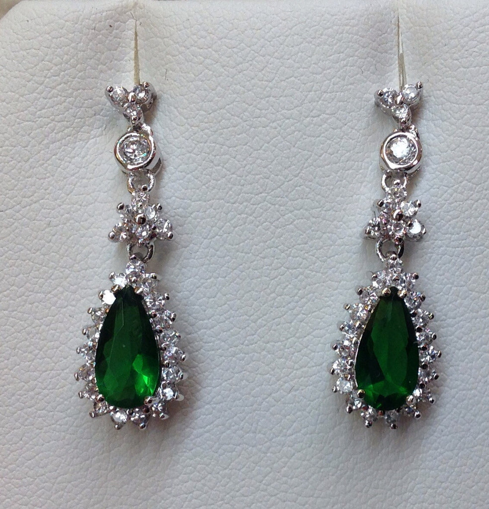 Emerald Green Cubic Zirconia Dangle Earrings