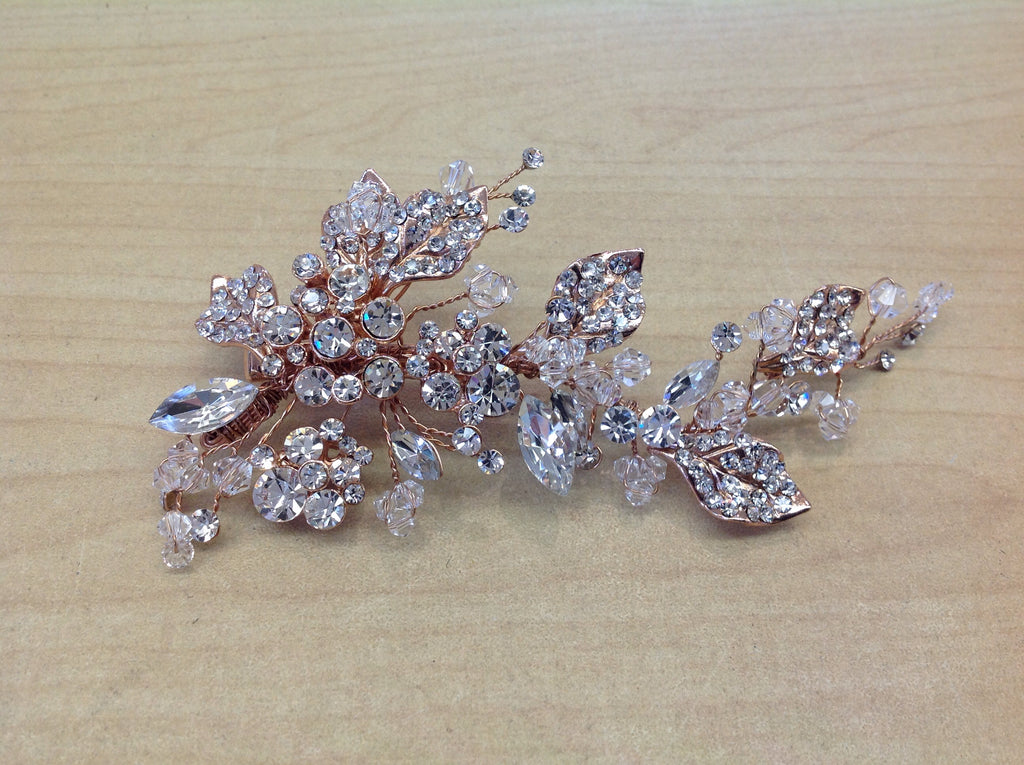 Rose Gold and Crystal Leafy Hair Clip