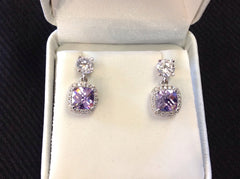 Sterling Silver Light Amethyst CZ Earrings