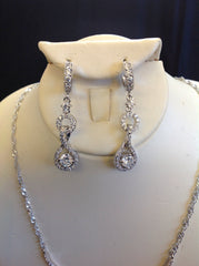 Pave Crystal Drop Necklace Set