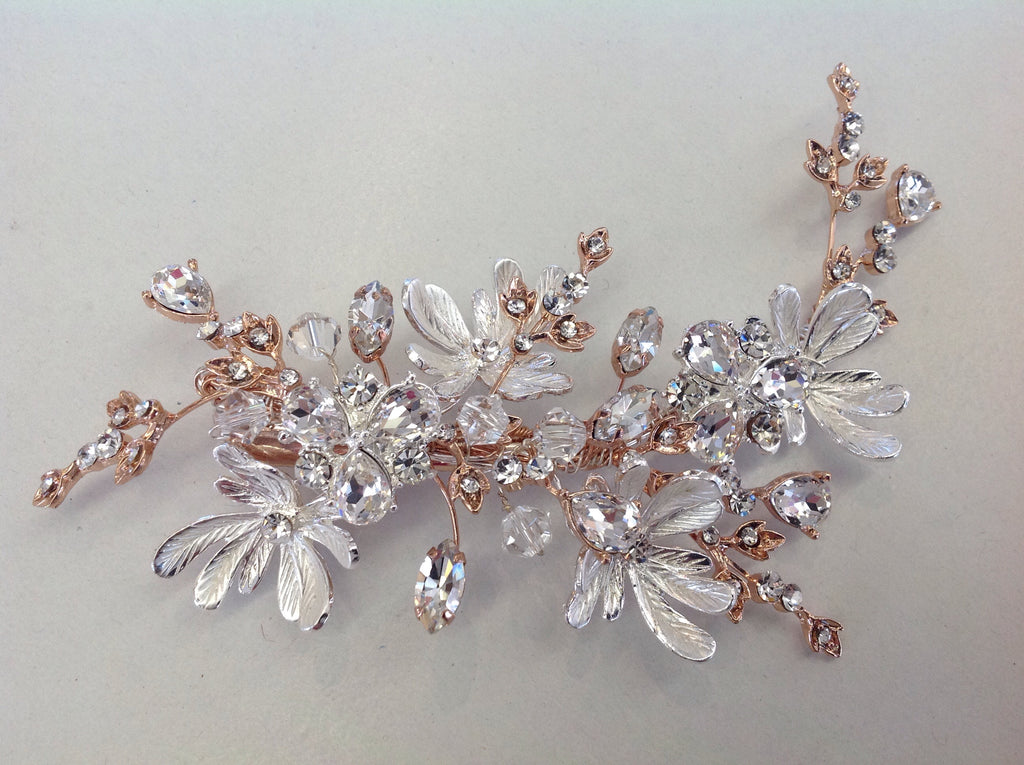 Rose Gold and Silver Floral Hair Clip