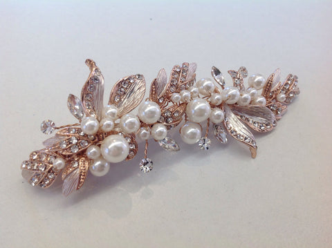Rose Gold Leaf and Pearl Hair Clip