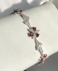 Ruby and CZ flower bracelet