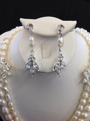 Freshwater Pearl and Rhinestone Necklace Set