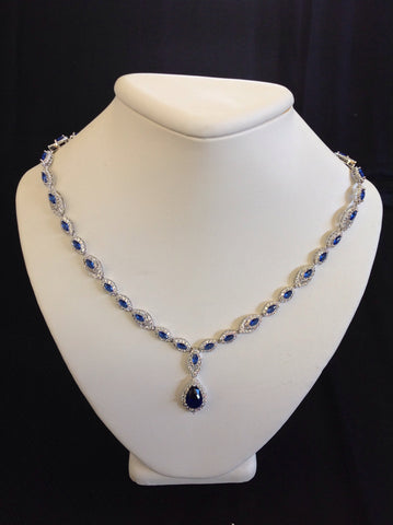 Sapphire Pear Drop Necklace
