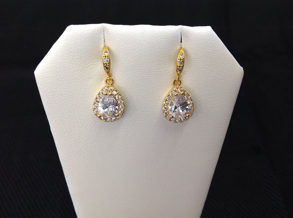 14K Gold Plated Teardrop Dangle Earrings
