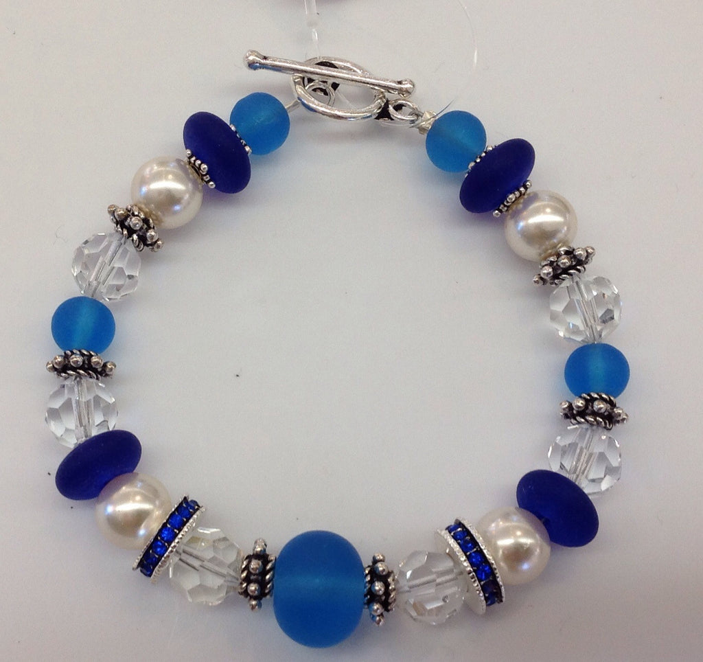 Sea glass Pearl Swarovski Crystal and sterling bracelet