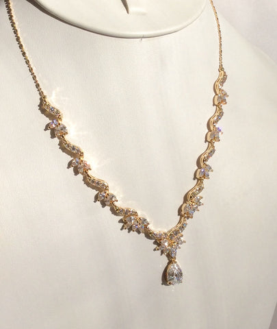 Gold dainty CZ drop necklace