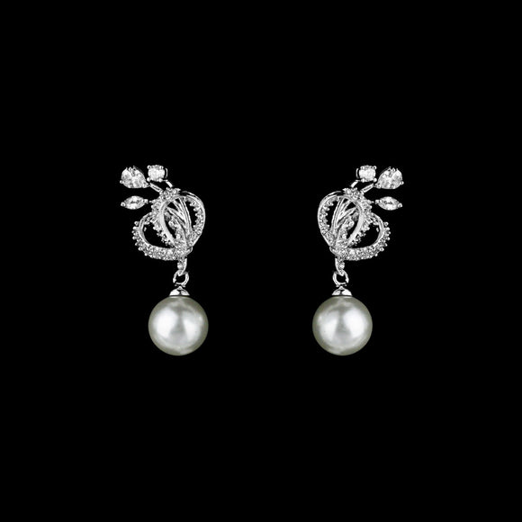 CZ Knot and Pearl Dangle Earrings JS-0247
