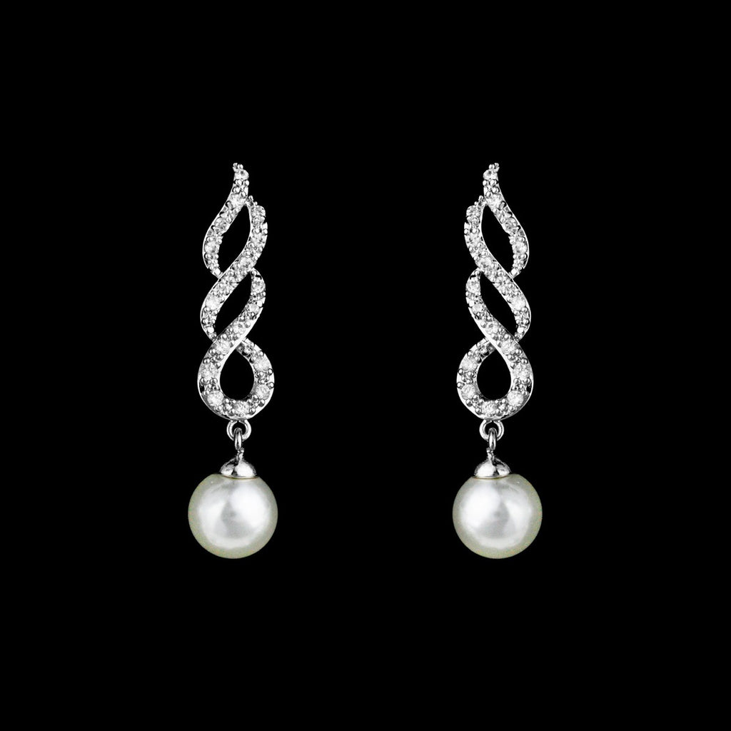 CZ and Pearl Twisty Dangle Earrings JS-0265