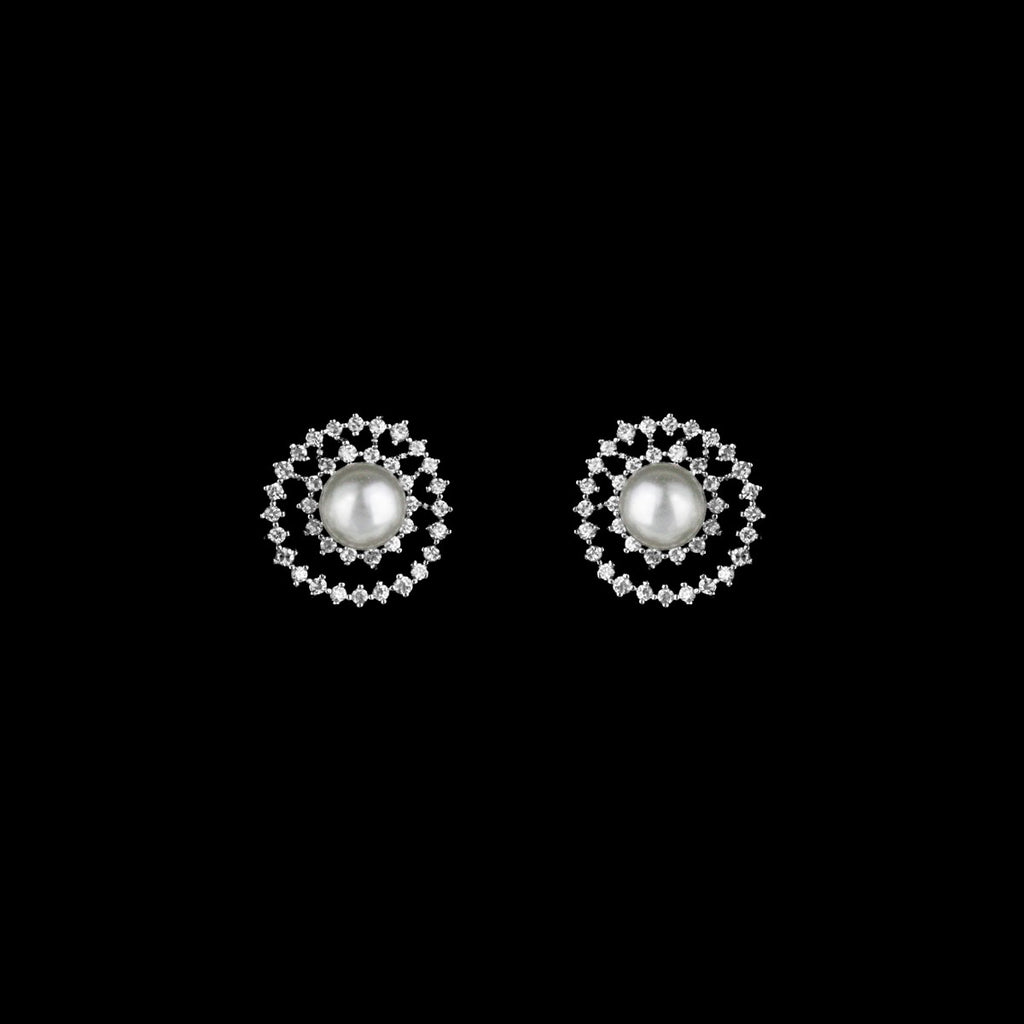 CZ amd Pearl Stud Earrings JS-0367