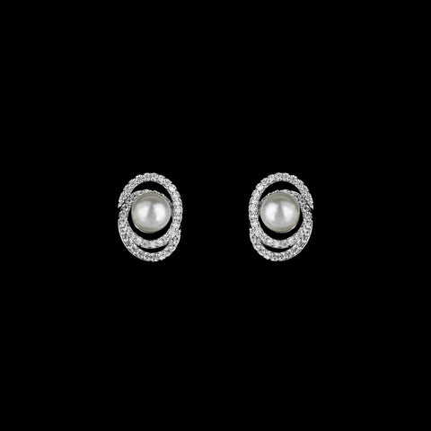 CZ and pearl stud earrings JS-0402