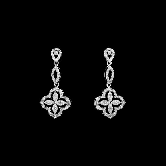 CZ Clover Dangle Earrings JS-0427
