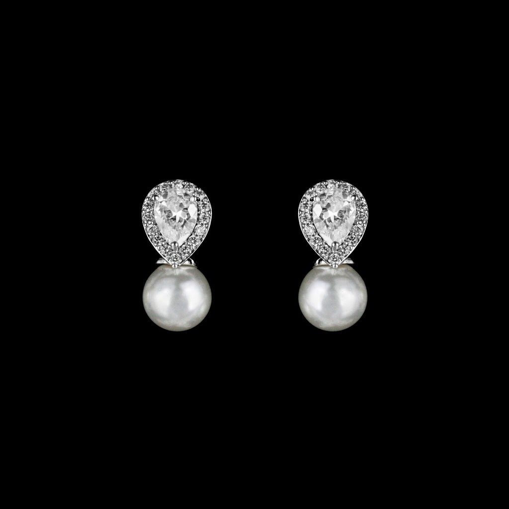 CZ Pear and Pearl Stud Earrings JS-0459