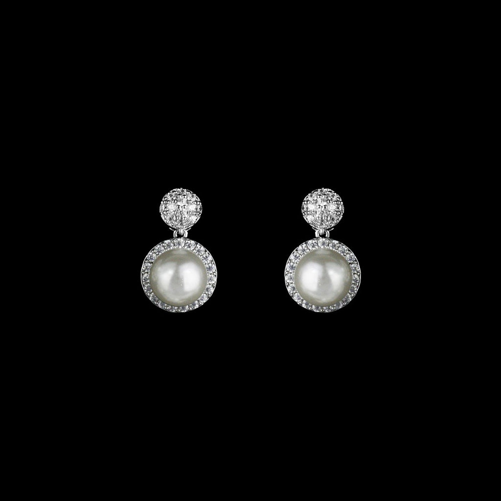 CZ pave and pearl earrings JS-0465