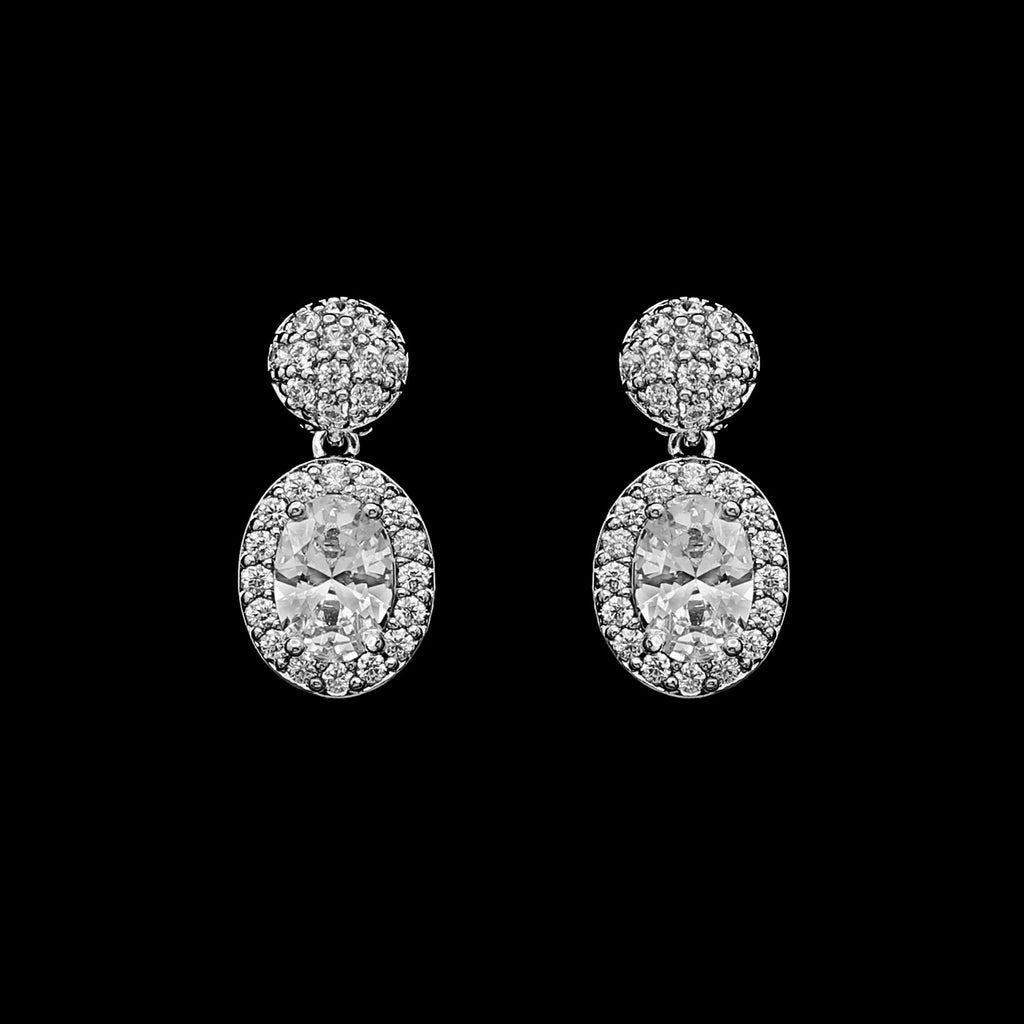 CZ oval and pave earrings JS-0466