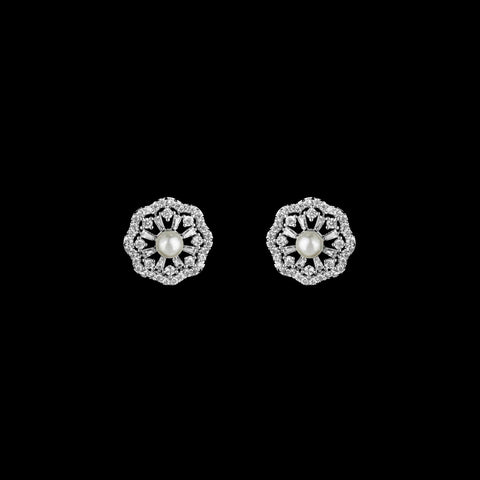 CZ and Freshwater Pearl Earrings JS-0504